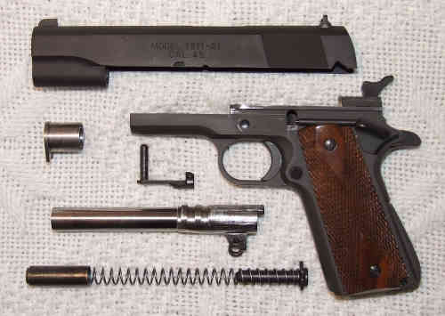 Model 1911 semiautomatic pistol, partly disassembled.